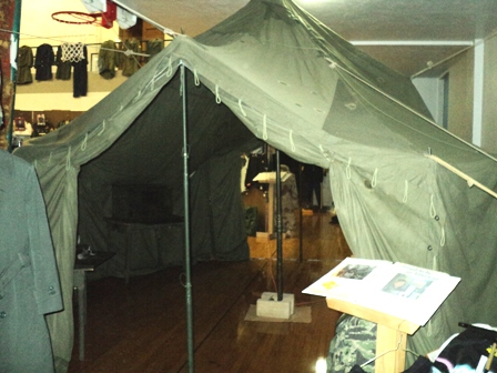 Looking into a GP (General Purpose) Small tent. This item was new to the 2010 display. & U.S.M.H.C. - US Military Historical Collection